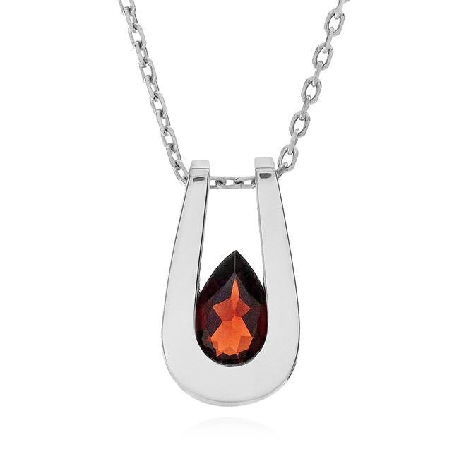 1.10 Carat Garnet Pendant in Sterling Silver with Chain