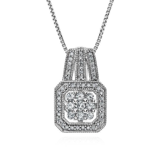 1/2 Carat Square Diamond Pendant in Sterling Silver with Chain