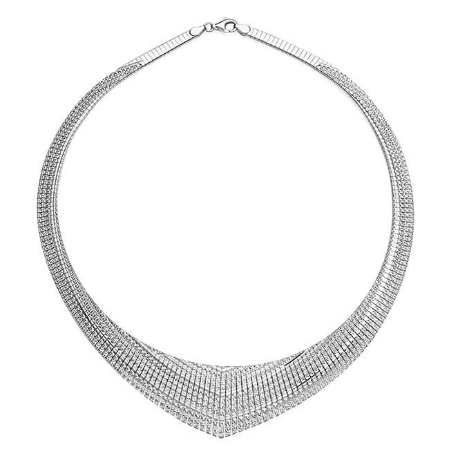 Diamond Cut Graduated Fancy Cleopatra Necklace - 17""