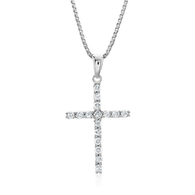 "0.25 Carat Diamond Cross Pendant in Sterling Silver with 18"" Chain"