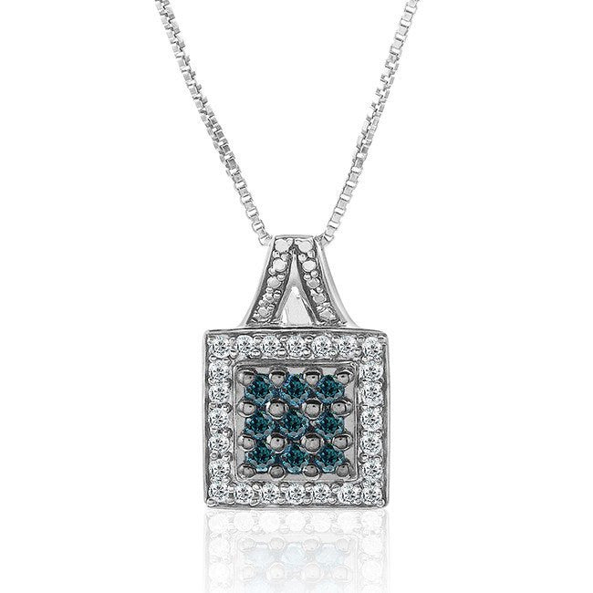 1/2 Carat Blue & White Diamond Pendant in Sterling Silver with Chain