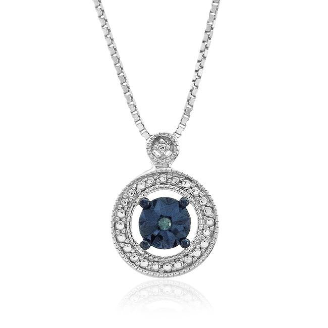 "Diamond Miracles: Blue & White Diamond Accented Pendant in Sterling Silver with 18"" Chain"