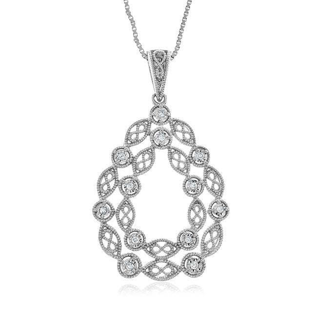 "Diamond Miracles: 0.10 Carat Diamond Pendant in Sterling Silver with 18"" Chain"