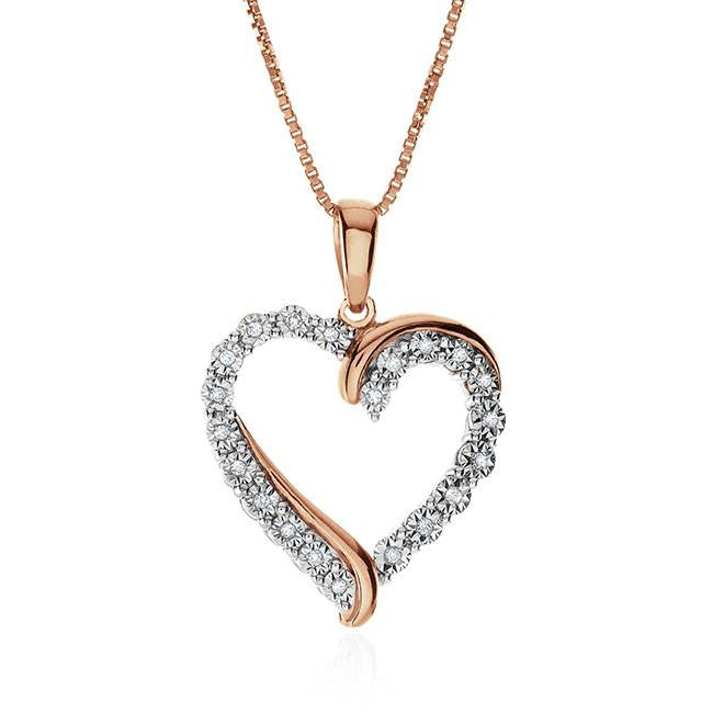 0.10 Carat Diamond Heart Pendant in Rose Gold-Plated Sterling Silver with Chain