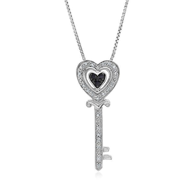 0.10 Carat Black & White Diamond Key Pendant in Sterling Silver with Chain