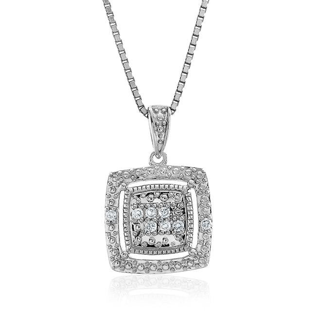 "0.08 Carat Diamond Pendant in Sterling Silver with 18"" Chain"