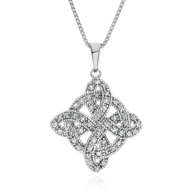 1/4 Carat Diamond Celtic Cross Pendant in Sterling Silver with Chain