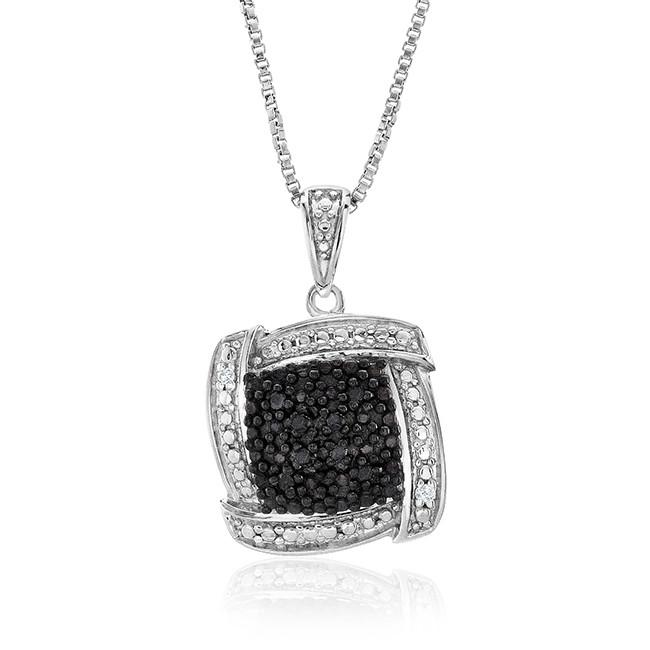 0.08 Carat Black & White Diamond Pendant in Sterling Silver with Chain