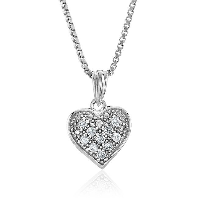 "0.08 Carat Diamond Heart Pendant in Sterling Silver with 18"" Chain"