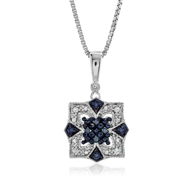 "0.08 Carat Blue & White Diamond Pendant in Sterling Silver with 18"" Chain"