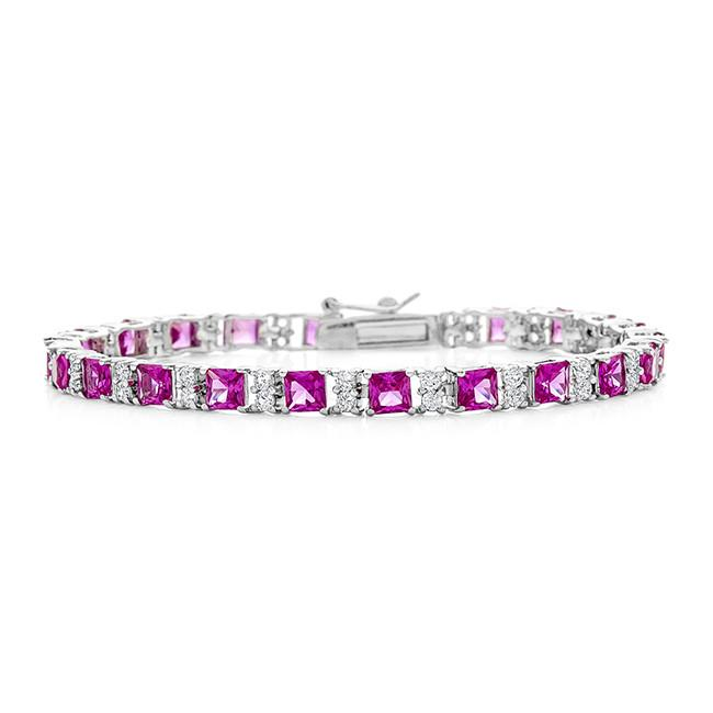 Created Pink & White Sapphire Bracelet in Sterling Silver -7""