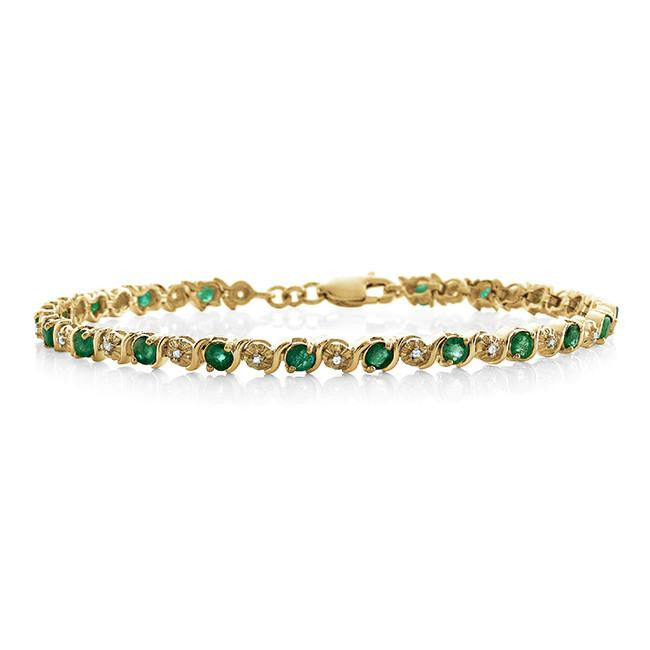 2.45 Carat Genuine Emerald & White Topaz Bracelet in 14K Yellow Gold Over Silver - 7.25""