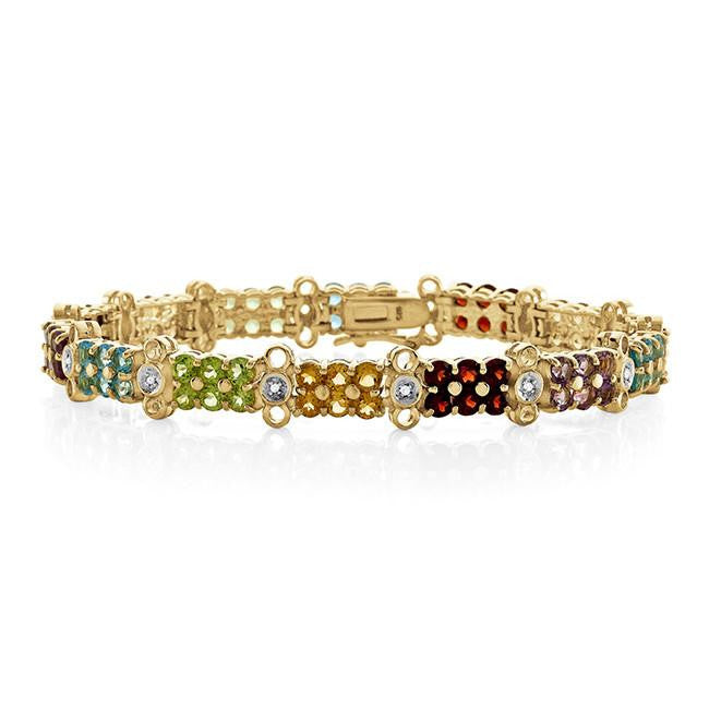 11.50 Carat Genuine Multi-Color Gemstone Bracelet in 14K Yellow Gold Over Silver - 7""