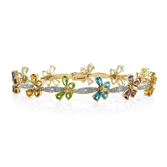 7.66 Carat Genuine Multi-Color Gemstone Butterfly Bracelet in 14K Yellow Gold Over Silver - 7""
