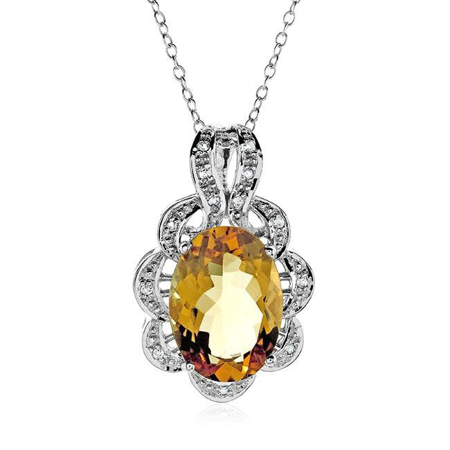 "5.10 Carat Genuine Citrine & White Topaz Pendant in Sterling Silver with 18"" Chain"