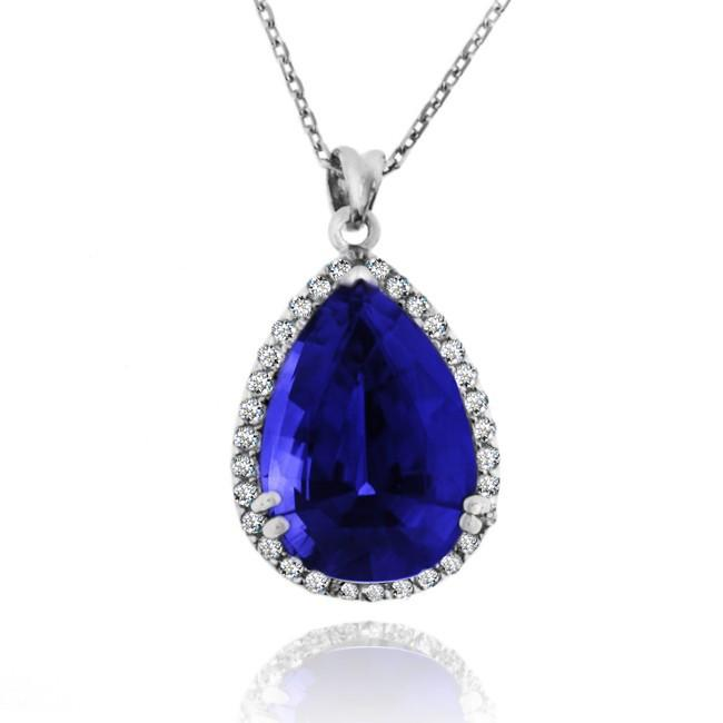 12 Carat tw Blue & White Sapphire Pendant in Sterling Silver with Chain