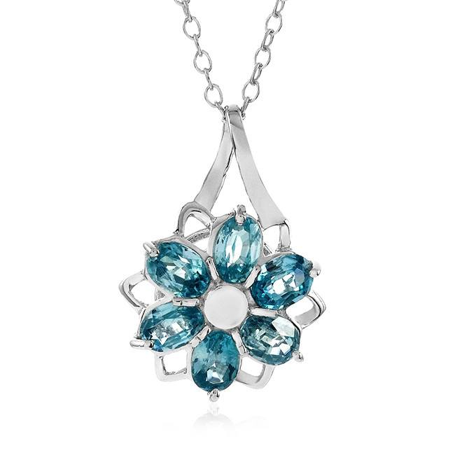 "2.00 Carat Genuine Blue Zircon Flower Pendant in Sterling Silver with 18"" Chain"