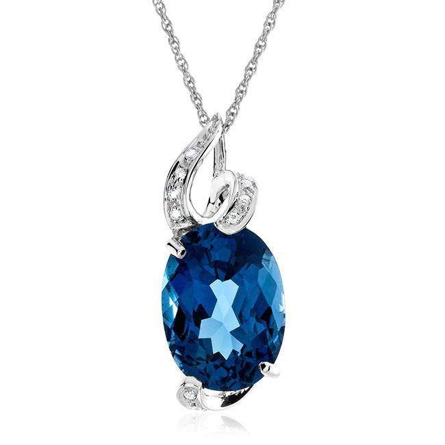 "5.70 Carat Genuine London Blue Topaz Pendant in Sterling Silver with 18"" Chain"