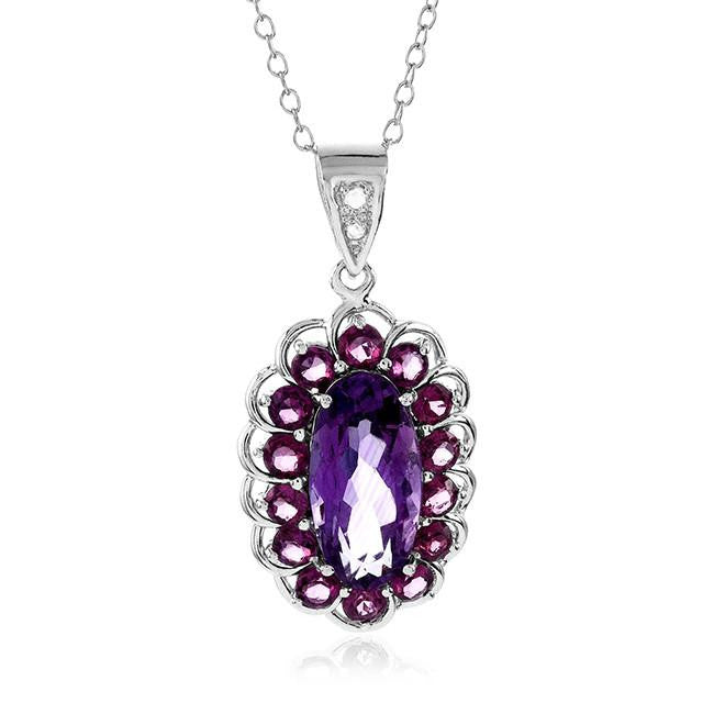 "3.33 Carat Genuine Amethyst & Rhodolite Garnet Pendant in Sterling Silver with 18"" Chain"