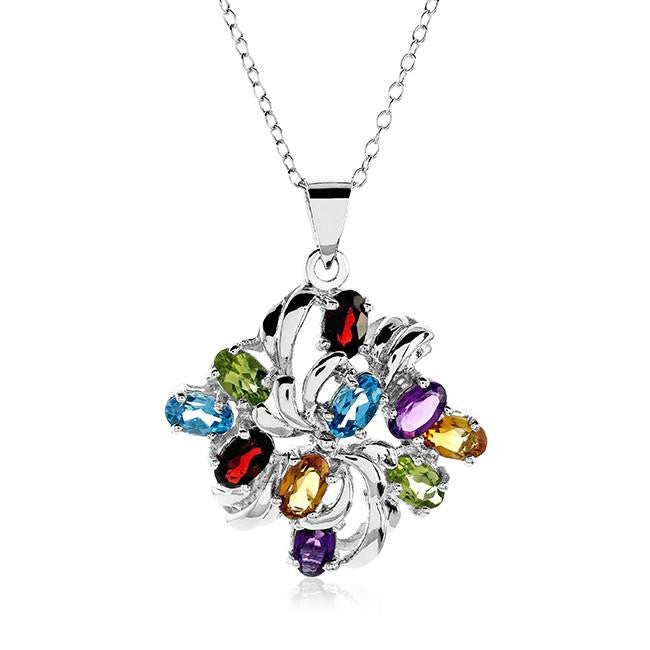 "2.50 Carat Genuine Multi-Color Gemstone Pendant in Sterling Silver with 18"" Chain"