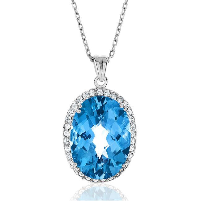 "13.00 Carat Genuine Blue Topaz & Created White Sapphire Pendant in Sterling Silver with 18"" Chain"