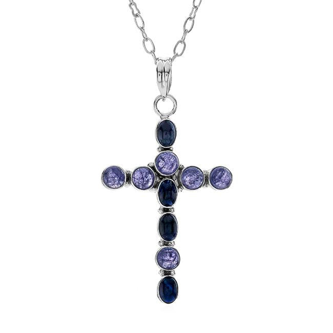 7.00 Cttw Blue Sapphire And Tanzanite Cross Pendant In Sterling Silver