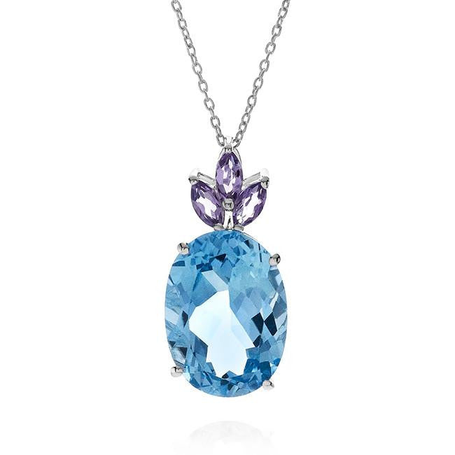 15.37 Carat Pineapple Shaped Blue Topaz And Amethyst Pendant In Sterling Silver