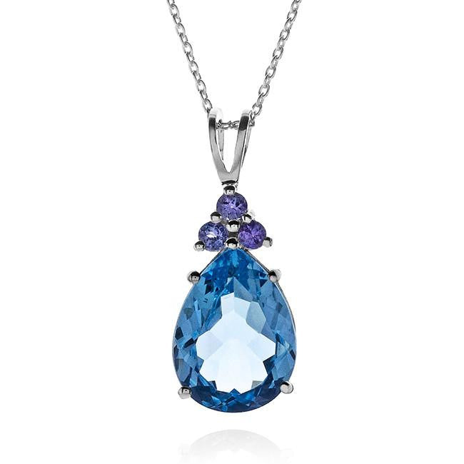 10.00 CTW Pear Shaped Genuine Blue Topaz & Tanzanite Pendant In Sterling Silver