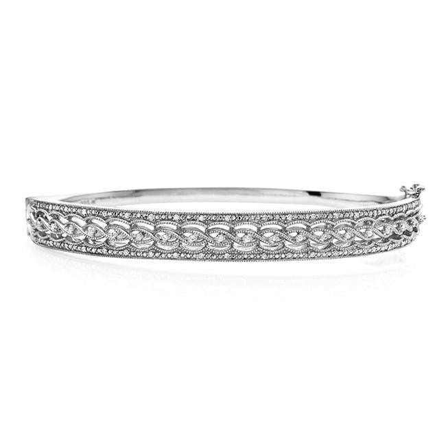 1/4 Carat Diamond Twist Bangle Bracelet in Sterling Silver - 7.5""