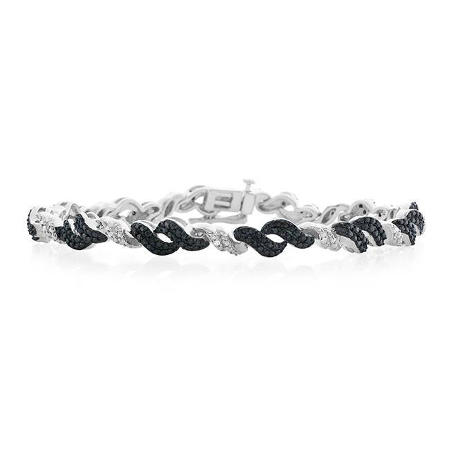0.25 Carat Black & White Diamond Bracelet in Sterling Silver