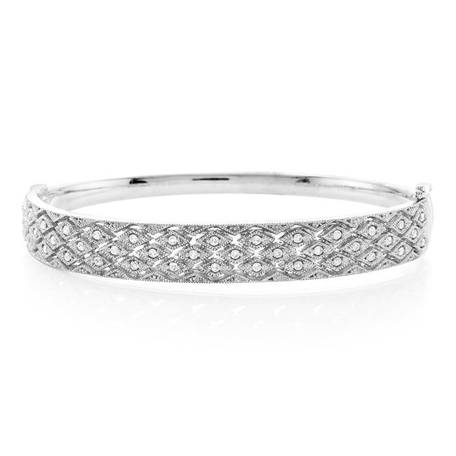 1/2 Carat Diamond ZigZag Bangle Bracelet in Sterling Silver - 7.5""