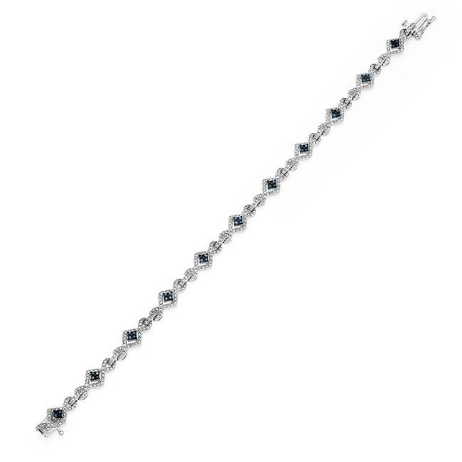 0.25 Carat Blue & White Diamond Bracelet in Sterling Silver - 7.5""