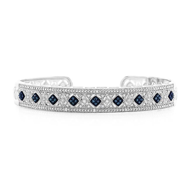 0.25 Carat Blue & White Diamond Bangle Bracelet in Sterling Silver