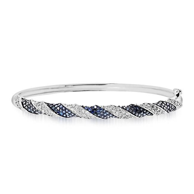 1.90 Carat Blue & White Diamond Bangle Bracelet in Sterling Silver