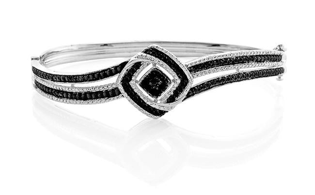 0.05 Carat Black & White Diamond Bangle Bracelet in Sterling Silver