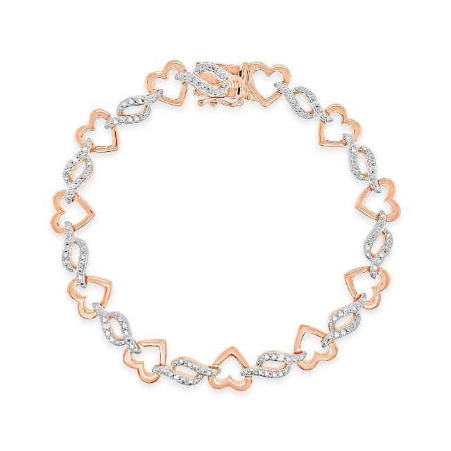 1/10 Carat Diamond Heart & Wave link Bracelet in Rose Gold-Plated Sterling Silver - 7.5""