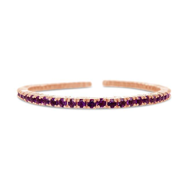 5.62 Carat Genuine African Amethyst Bangle in Rose Gold-Plated Sterling Silver - 7""