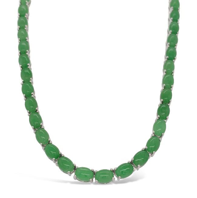 46.84 Carat Green Jade Necklace in Sterling Silver - 16""