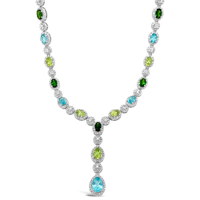 9.51 Carat Genuine Multi-Gemstone Designer Y Necklace in Sterling Silver