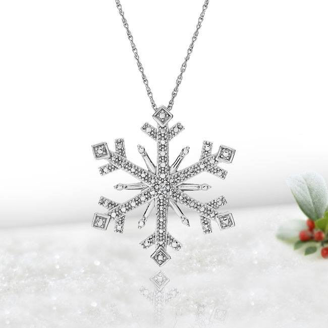 Diamond Accent Snowflake Pendant in Sterling Silver with Chain
