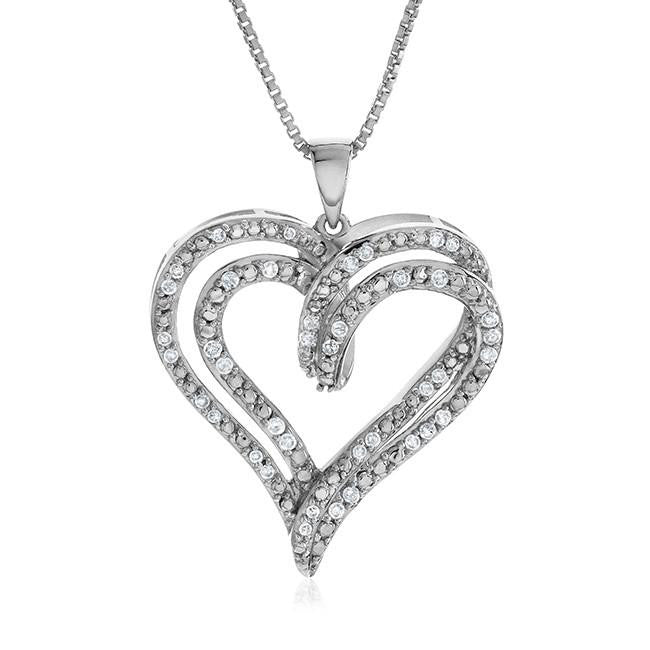 1/4 Carat Diamond Heart Pendant in Sterling Silver with Chain