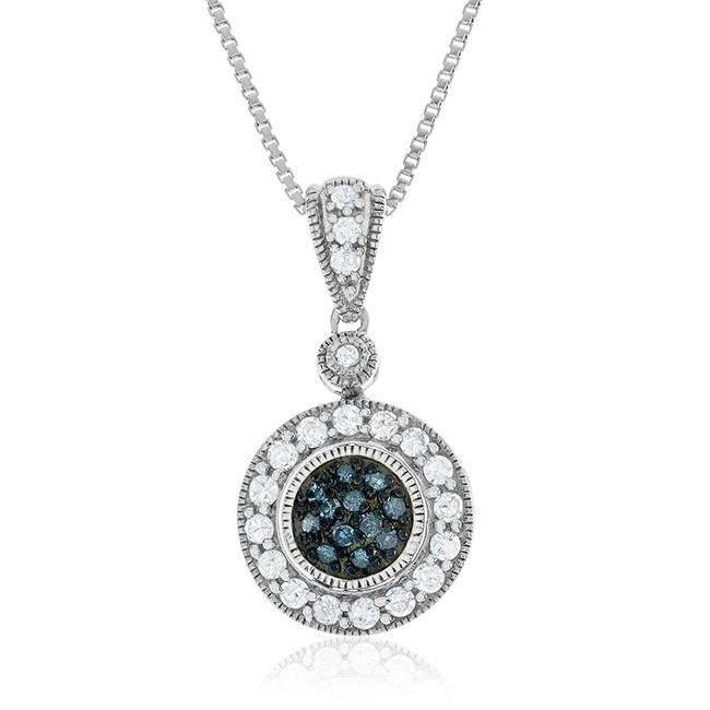 0.40 Carat Blue & White Diamond Pendant in Sterling Silver with Chain
