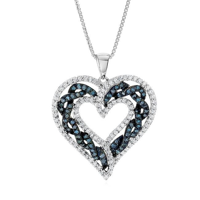 "1.00 Carat Blue & White Diamond Heart Pendant in Sterling Silver with 18"" Chain"