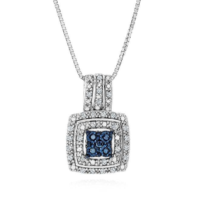 "Diamond Miracles: 1/4 Carat Blue & White Diamond Square Pendant in Sterling Silver with 18"" Chain"