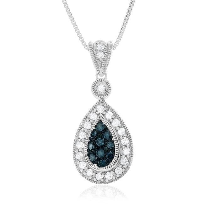 0.50 Carat Blue & White Diamond Teardrop Pendant in Sterling Silver with Chain