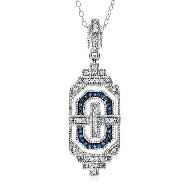 "0.25 Carat Blue & Whtie Diamond Pendant in Sterling Silver with 18"" Chain"