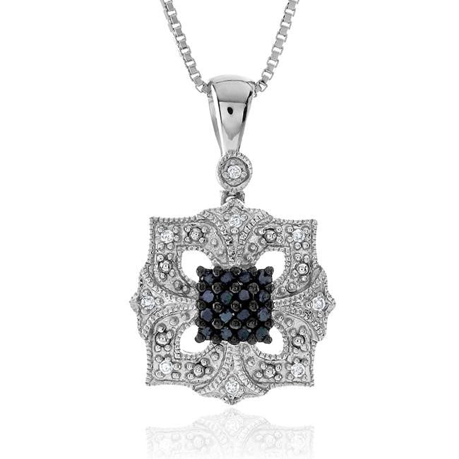 0.15 Carat Black & White Diamond Pendant in Sterling Silver with Chain
