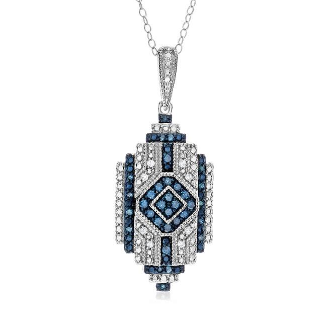 "0.25 Carat Blue & White Diamond Pendant in Sterling Silver with 18"" Chain"