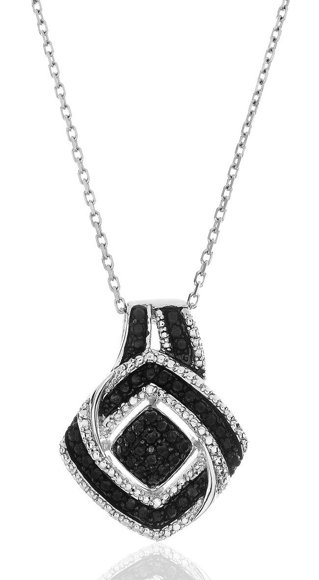 "0.05 Carat Black & White Diamond Pendant in Sterling Silver with 18"" Chain"