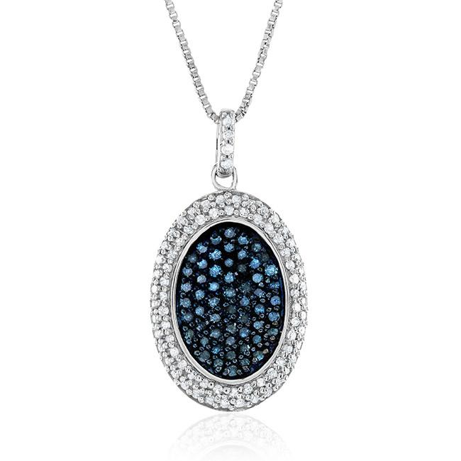 1.00 Carat Blue & White Diamond Oval Pendant in Sterling Silver with Chain